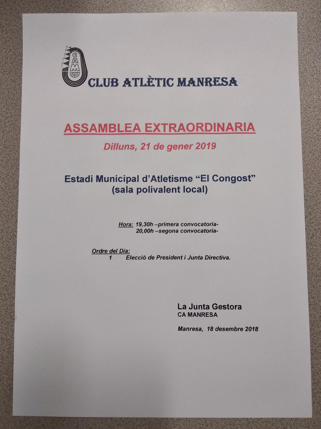 convocatoria assamblea extraordinaria 21012019